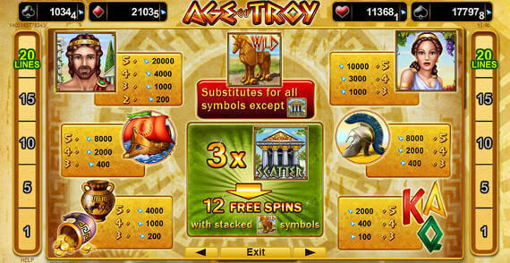 Slots Million play Age of Troy slot machine free game online casino review